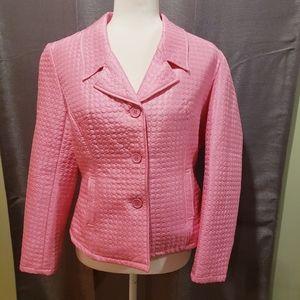 100% silk pink quilted blazer